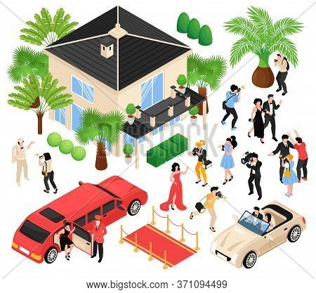 Celebrities Isometric Set Of Red Carpet Limousine Paparazzi Media Faces Isolated Vector Illustration