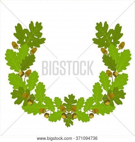 Vector Stock Illustration Of Oak Leaf Crown. Wreaths Depicting An Award, Achievement, Heraldry, Nobi
