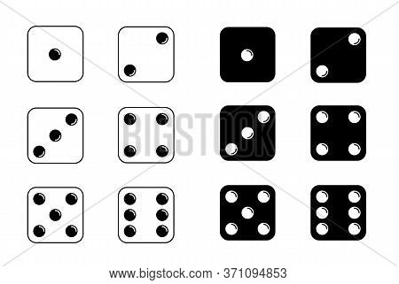 Game Dice. Set Of Game Dice, Isolated On White Background. Dice In A Flat And Linear Design From One