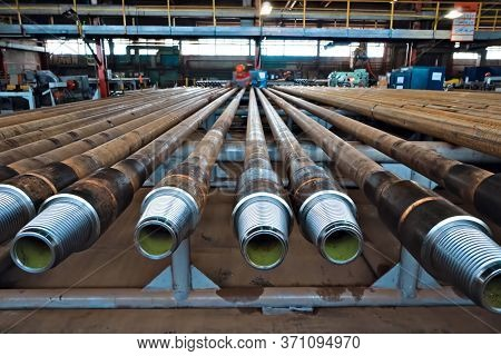 Pumped Compressor Pipes For The Oil Well. Oil And Gas Equipment.