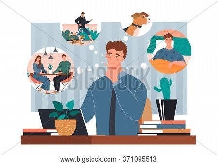 Businessman Sitting At A Laptop In His Office Thinking With Thought Bubbles Showing Him Dining With