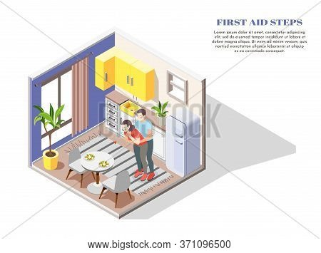 First Aid Steps By Chocking Isometric Composition With Man Giving Woman Abdominal Squeezes In Kitche