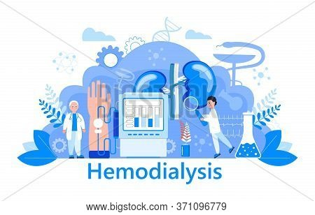 Hemodialysis Concept Vector. Method Of Extrarenal Blood Purification In Acute And Chronic Renal Fail