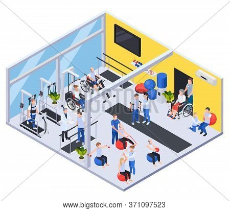 Medical Rehabilitation Center Interior Isometric View With Physiotherapy Treatment Exercises For Inj