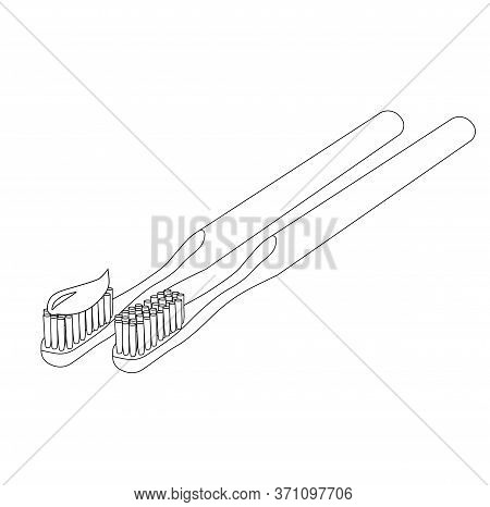 Vector Stock Illustration Of A Toothbrush. The Bristles With Toothpaste. In Doodle Style. A Dental C