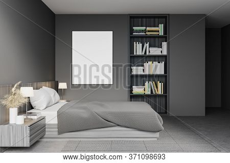 Side View Of Modern Master Bedroom With Gray Walls, Concrete Floor, Comfortable King Size Bed And Bu