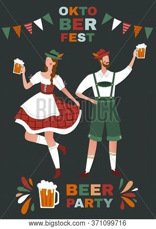 Oktoberfest Beer Party Poster Design With Young Man And Woman In Traditional German Clothing Toastin
