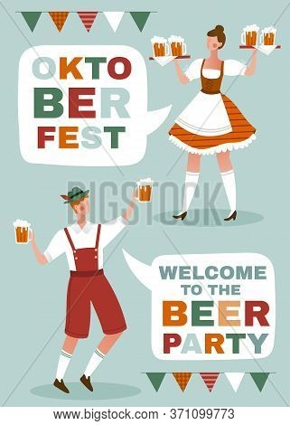 Oktoberfest Poster With Waiter And Waitress In Traditional Bavarian Dress Holding Tankards Of Frothy
