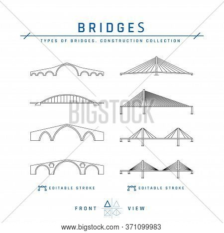 Cable Stayed And Arched Bridges Icons, Vector