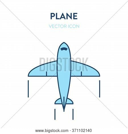 Small Aircraft Plane Icon. Vector Flat Outline Illustration Of A Small Plane, Glider. Represents A C