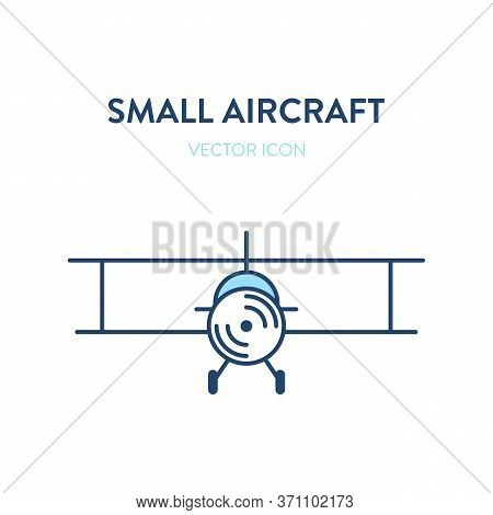 Light Aircraft Plane Icon. Vector Flat Outline Illustration Of A Small Plane, Crop Duster. Represent