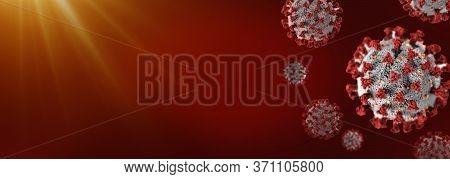 Coronavirus Or Covid-19 Flu, Virus 3d Medical Illustration Render. Danger Public Health Risk Disease