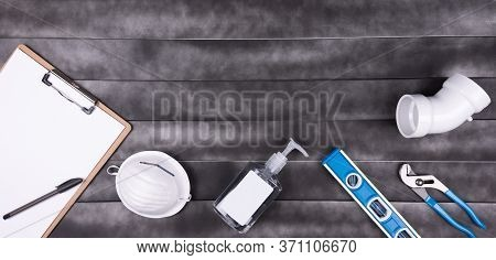Plumber Emergency And Repair Services. Plumber Pipe ,face Mask, Hands Sanitizer And Space For Text I