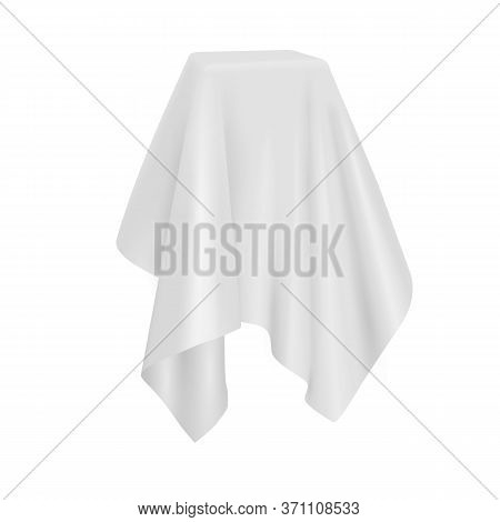 Box Covered With Silk Cloth. Realistic Vector Fabric Template Isolated On White Background.