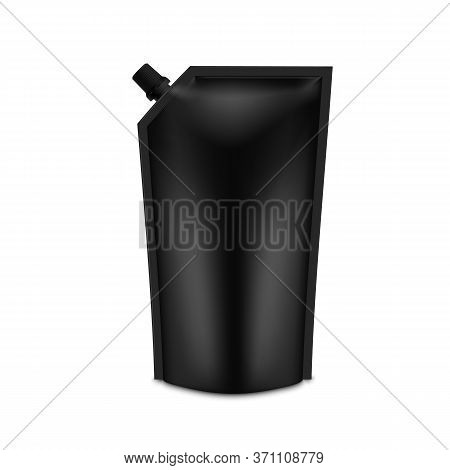 Realistic Black Blank Doy Pack Mock Up. Vector Doypack Template Packing With Screw Cap