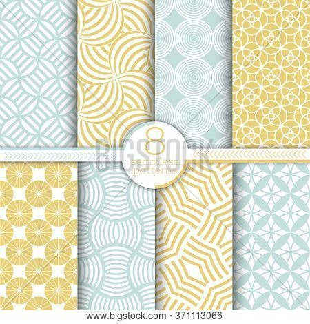 Set Of Vector Seamless Patterns. Modern Stylish Textures. Regularly Repeating Geometrical Ornaments
