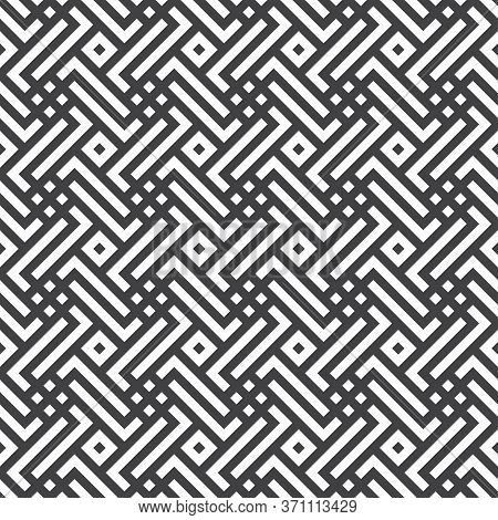 Vector Seamless Pattern. Infinitely Repeating Modern Geometrical Texture Consisting Of Simple Geomet