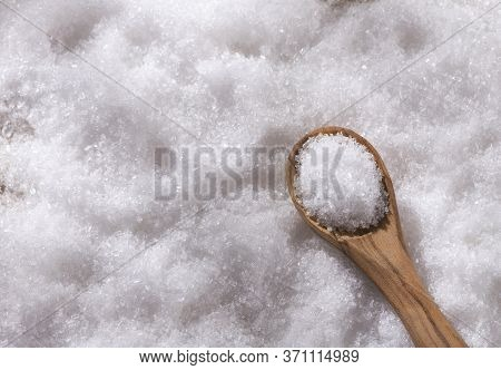 Magnesium Chloride In Wooden Spoon - Text Space