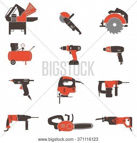 Set Of Twelve Power Tools.drill, Grinder, Compressor, Hammer Drill, Jigsaw, Sawzall, Heat Gun, Hot G
