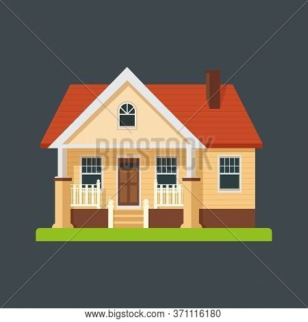 Vector House On Dark Background. Residential Building.