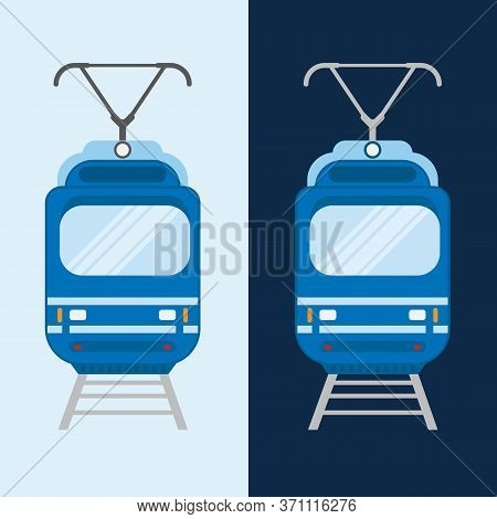 Streetcar On A Tramway Tracks Front View. Flat Style Vector Illustration Of A Public Transportation