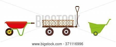 Set Of Three Garden Carts. Wagon For Supplies, Vegetables, Gardening Equipment, Flowers. Manual Carg