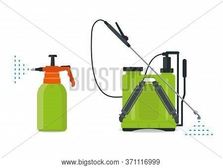 Garden Manual Plastic Sprayer And Knapsack Vector Illustration.