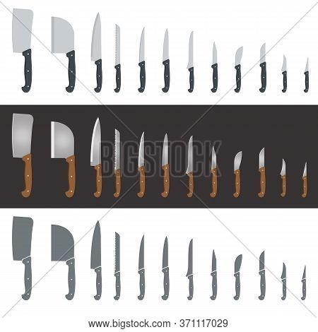 Set Of Twelve Different Knives And Hatchets For Slicing, Cutting And Chopping. Simple Flat Design Ve