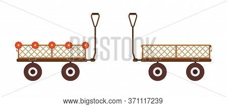 Garden Cart Yard Dump Wagon. Wheelbarrow 4 Wheel All Terrain Carrier.