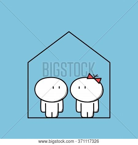 Cute Man And Woman At Home. Living Together And Family Life, House Purchase And Apartment Rent Carto