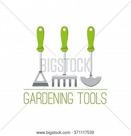 Garden Tools Logo With Hoe, Rake And Trowel.gardening Instruments Advertisement Concept. Design For