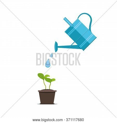 Watering Seeds With Watering Can. Gardening And Sowing Design Concept For Germination.