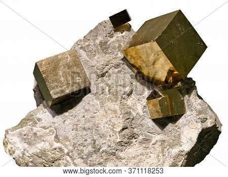 Pyrite Cubic Crystals Embedded In A Matrix On White Background