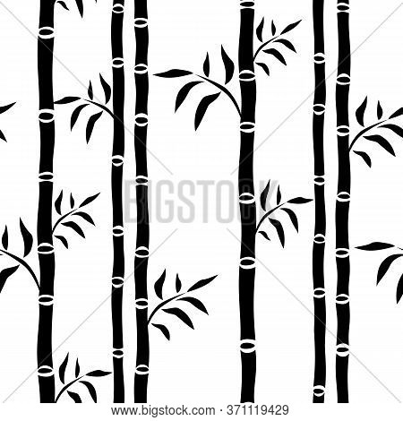 Bamboo Trees Seamless Pattern. Leaf Floral Background Bamboo Stalks Silhouette. Graphics Monochrome