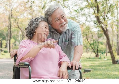 Happy Elderly Couple With Lifestyle After Retiree Concept. Lovely Asian Seniors Couple Embracing Tog