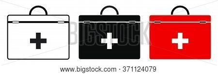 Icon Set Red First Aid Kit For Resuscitation. Health Recovery In Emergency Situations. Isolated Vect