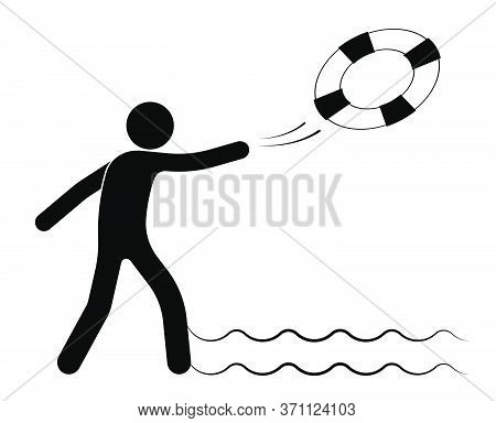 Stick Figure, Man Throws A Life Buoy Into The Sea From The Shore. Assisting Drowning People. Dangers