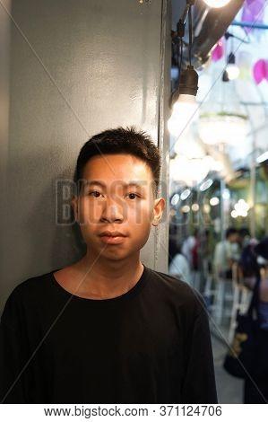 Close Up Young Man Travel In Bangkok Thailand