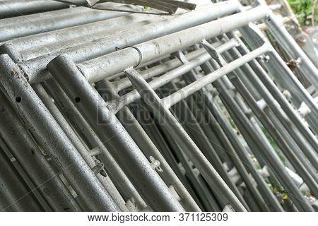 Close Up Iron Scaffolding On The Ground