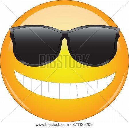 Cool Emoji In Sunglasses. Yellow Smiling Face Emoticon Wearing Sunglasses And Having Wide Smile Show