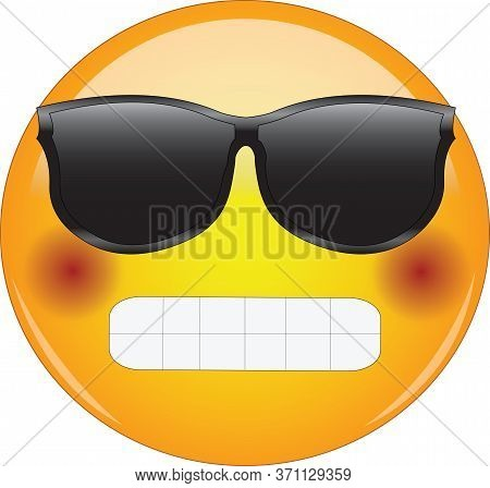 Cool Grinning And Blushing Emoji. Awesome Looking Yellow Face Emoticon Wearing Shades With Broad Gri