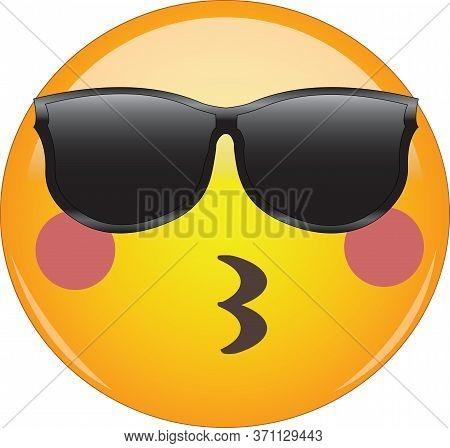 Cool Kissing Emoji In Sunglasses! Awesome Blushing Yellow Face Emoticon Wearing Sunglasses, Blushing