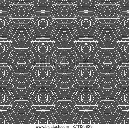 Seamless Linear Graphic Polygon, Lattice Pattern. Continuous Classic Vector Technology Repetition Te