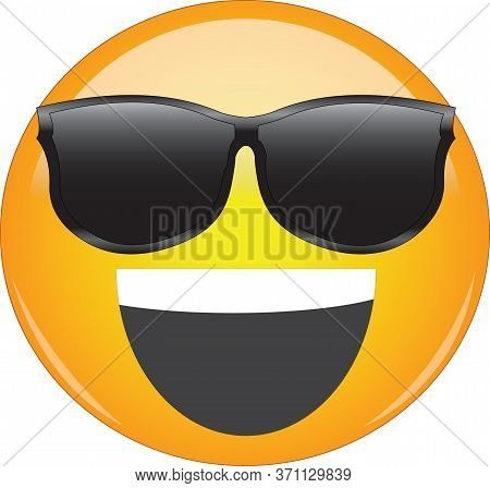 Cool Happy Grin Yellow Emoji. Smiling Yellow Face Emoticon Wearing Sunglasses And Having Wide Open S