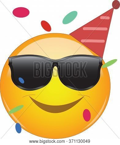 Cool Emoji Wearing A Party Hut, Sunglasses And Confetti Flying Around. Party Emoticon With Round Yel