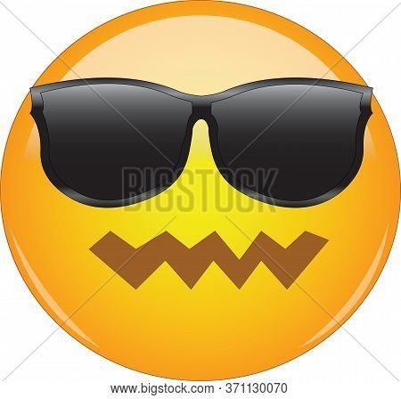 Cool Yet Confused Emoji. Yellow Face Emoticon With Pwnd Face Expression And Sunglasses Looking Aweso
