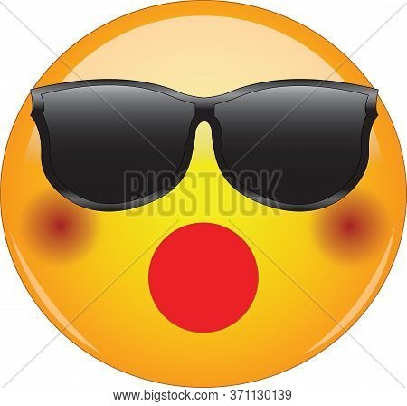 Awesome Shocked Emoji In Sunglasses. Cool Yellow Face Emoticon Wearing Shades And Having Blushing Ch