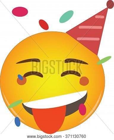 Tongue Party Emoji Celebrating Birthday In A Red Hat And Confetti Flying Around! Partying Yellow Fac