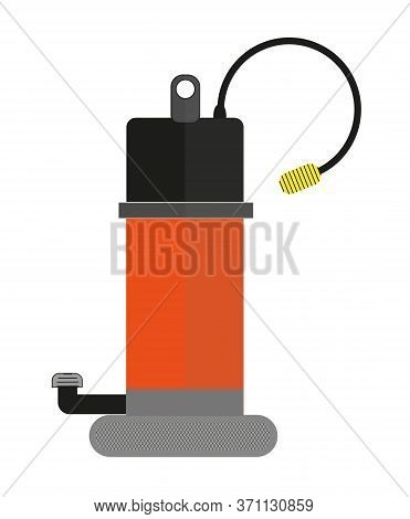 Submersible Water Pump Vector Drawing On White Background