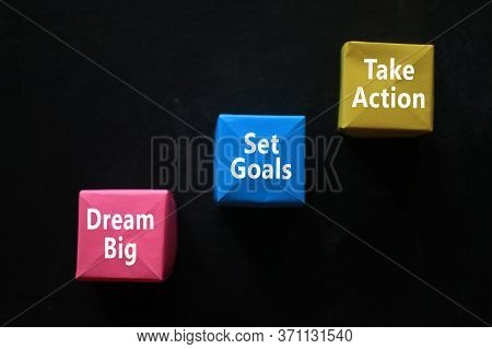 Business Strategy Concept With Colorful Origami Paper Cubes. Business Step And Plans To Be Successfu